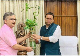Dr. Vipul Kandwal with CM, Uttarakhand